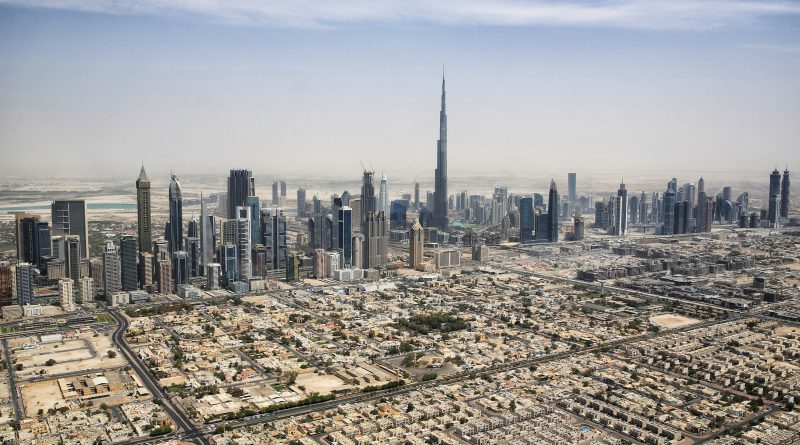 Skyline of Downtown Dubai with Burj Khalifa from a Helicopter